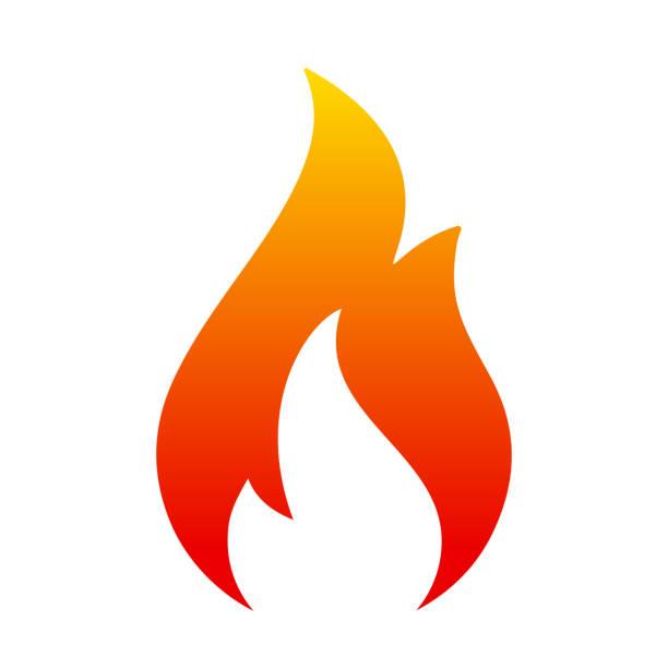 illustrations, cliparts, dessins animés et icônes de icône de la flamme. incendie de deux langue. logo d'icône illustration - vecteur - flamme