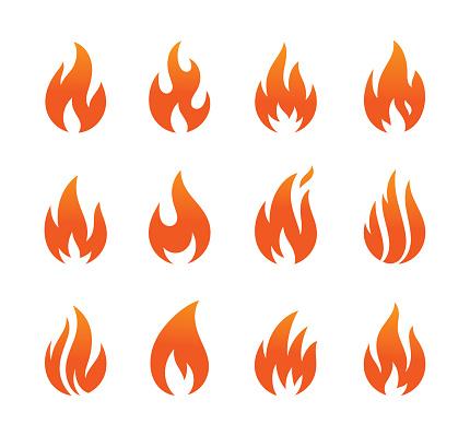 flame icons set