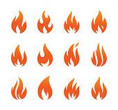 flame icon set isolated on white background