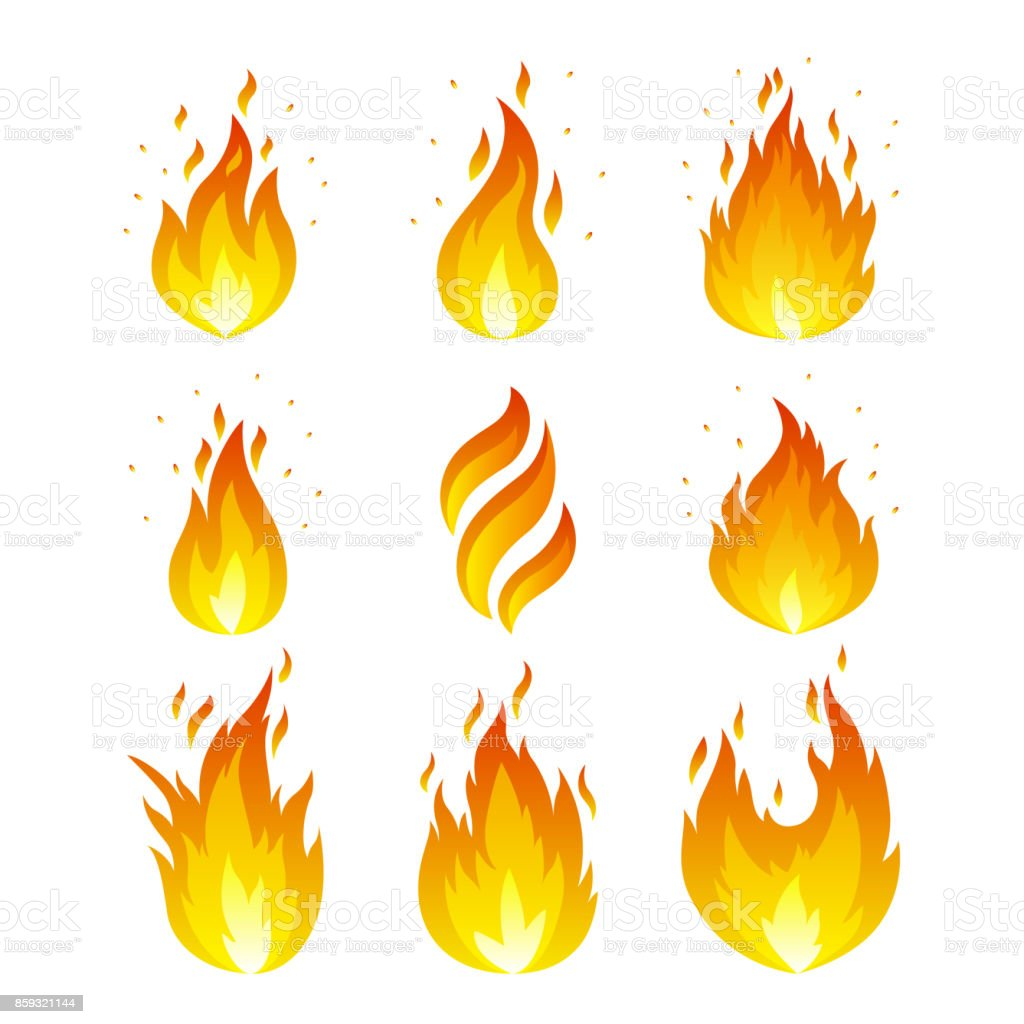 Flame icons set