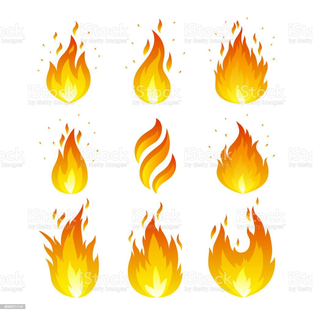 Flame icons set vector art illustration