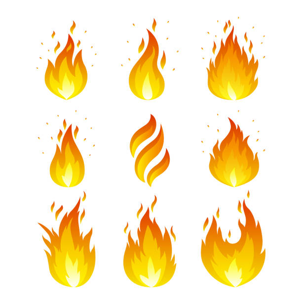 flame icons set - fire stock illustrations