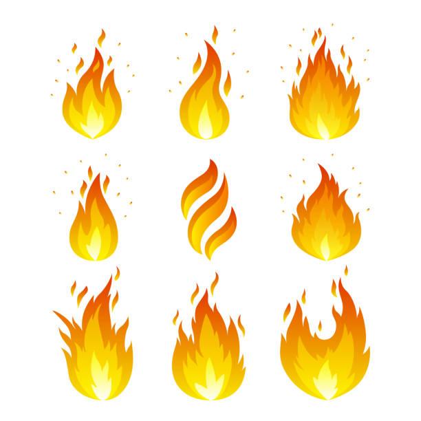 flamme icons set - feuer stock-grafiken, -clipart, -cartoons und -symbole