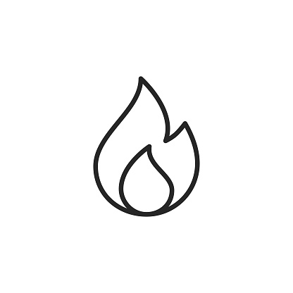 Flame Line Icon. Editable Stroke. Pixel Perfect. For Mobile and Web.