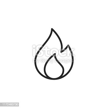 Flame Outline Icon with Editable Stroke.