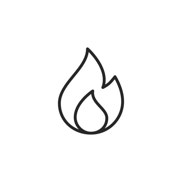 Flame Line Icon. Editable Stroke. Pixel Perfect. For Mobile and Web. Flame Outline Icon with Editable Stroke. cooking clipart stock illustrations