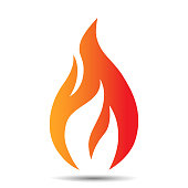 Flame logo design icon. Creative fire concept template for oil and gas company, web or mobile app. Vector illustration.