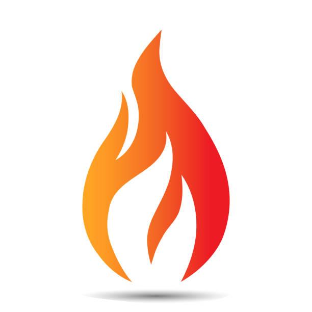 flammendes logo-design-symbol. kreative brandkonzeption für öl-und gasunternehmen, web oder mobile app. vektorillustration - wärme stock-grafiken, -clipart, -cartoons und -symbole
