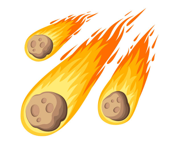Flame meteorite. Meteor rain fall on planet in cartoon style. Cataclysm color icon. Vector illustration isolated on white background. Web site page and mobile app design vector art illustration