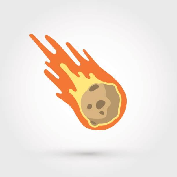 Flame meteorite vector art illustration