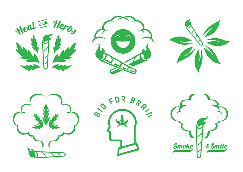 flame on hemp joint graphic element design
