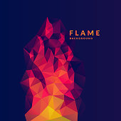 Flame polygonal object in the dark background. Vector illustration