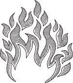 Hand-drawn vector sketch of a Flame Symbol. Black-and-White sketch on a transparent background (.eps-file). Included files: EPS (v8) and Hi-Res JPG.