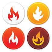 Flame symbols and icon collection. EPS 10 file. Transparency effects used on highlight elements.