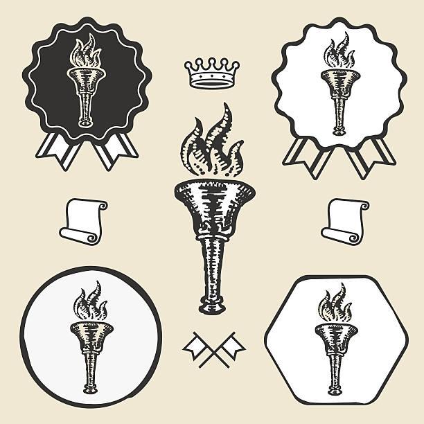 Flame torch vintage symbol emblem label collection vector art illustration