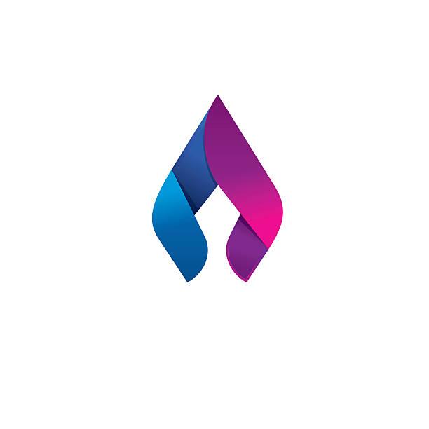 Flame vector logo design concept, beauty spear, elegant candle vector art illustration