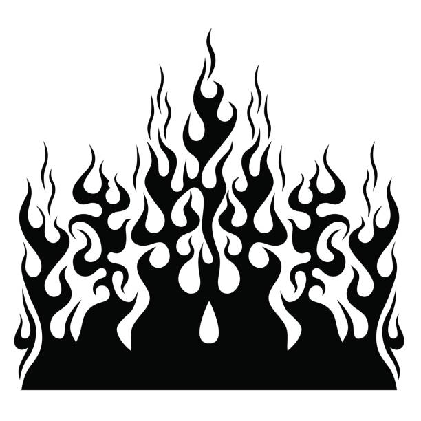 flame vector tribal. - fire tattoos stock illustrations, clip art, cartoons, & icons