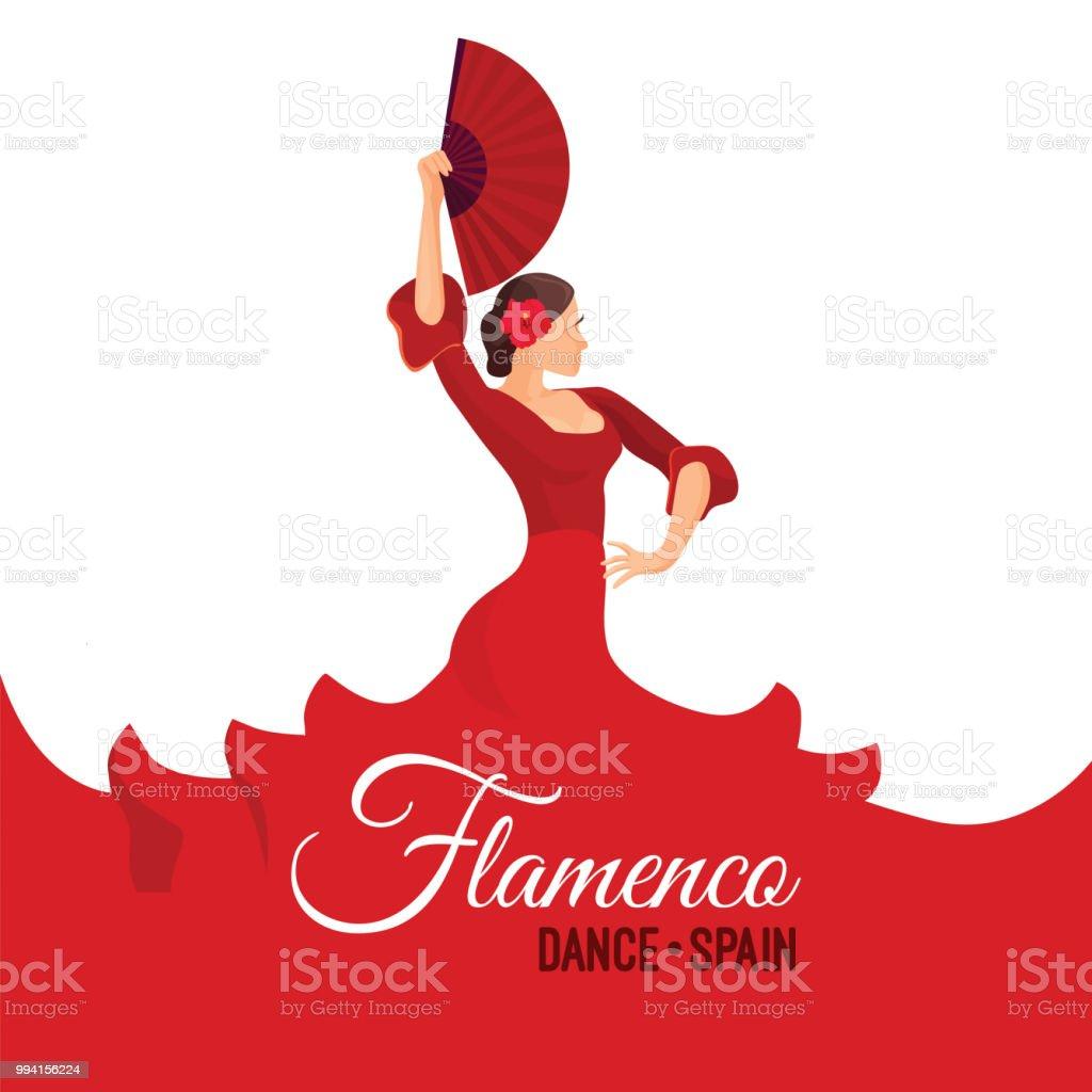 Flamenco dance Spain poster with headline. Young woman dancing vector art illustration