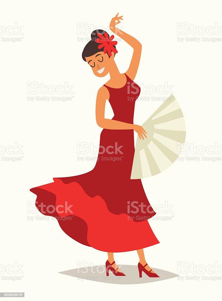 Flamenco dance vector illustration. Lady with flamenco fan - ilustración de arte vectorial