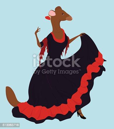 flamenco dancer ferret  in long dress