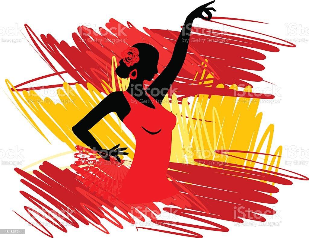 flamenco dancer over spanish flag background stock vector art