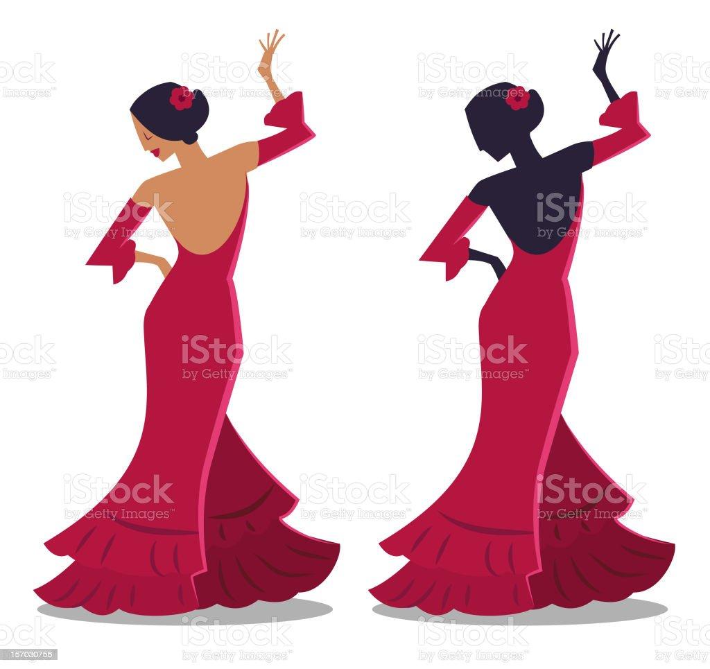 Flamenco Dancer Silhouette vector art illustration