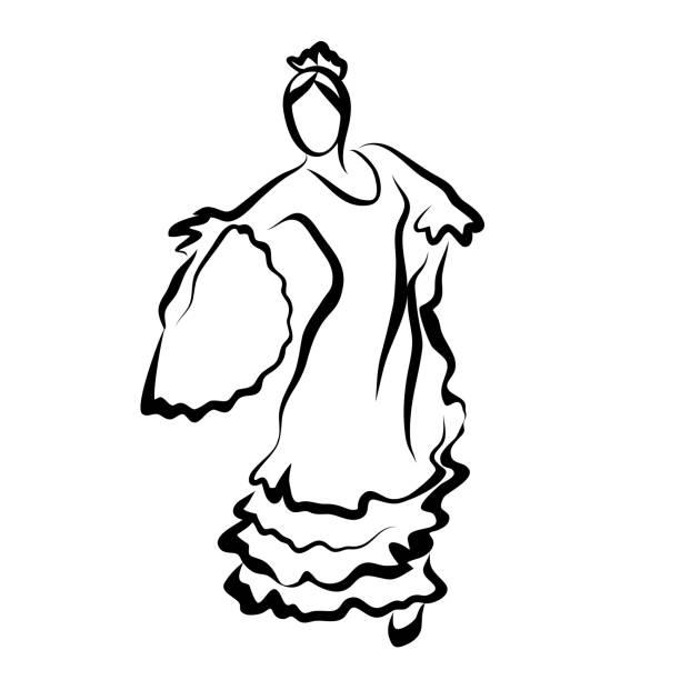 stockillustraties, clipart, cartoons en iconen met flamencodanseres - festival logo baby