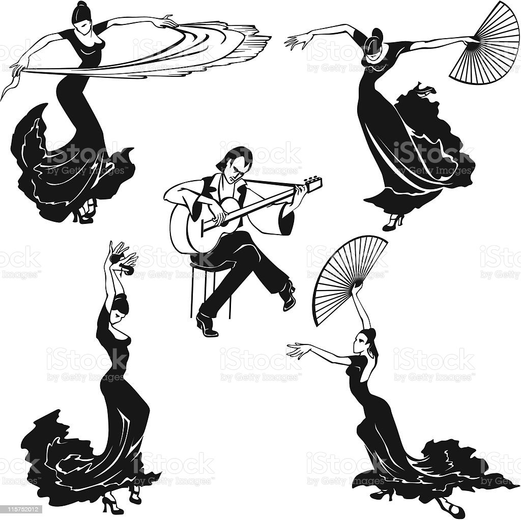 Flamenco dancers in black and white musical image vector art illustration