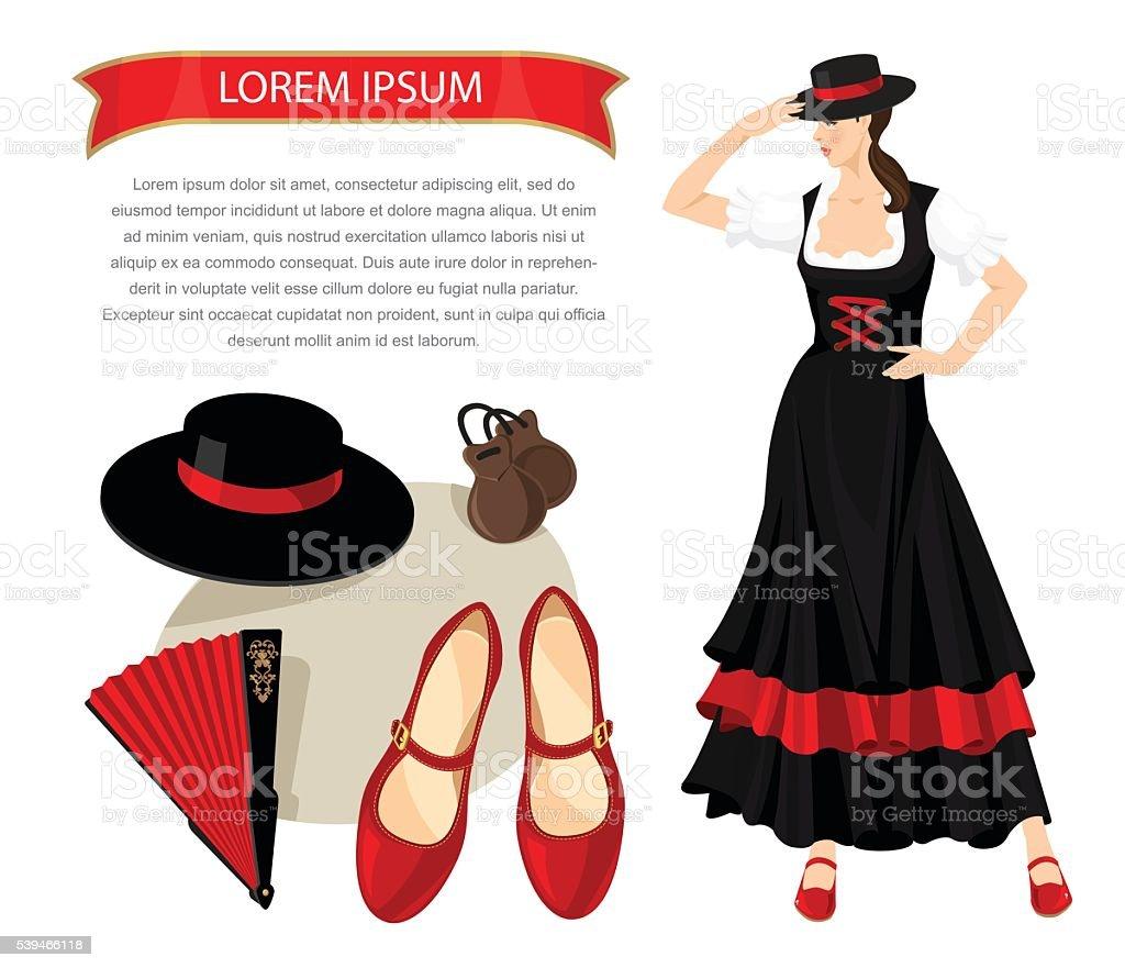 flamenco equipos y mujer bailarín - ilustración de arte vectorial