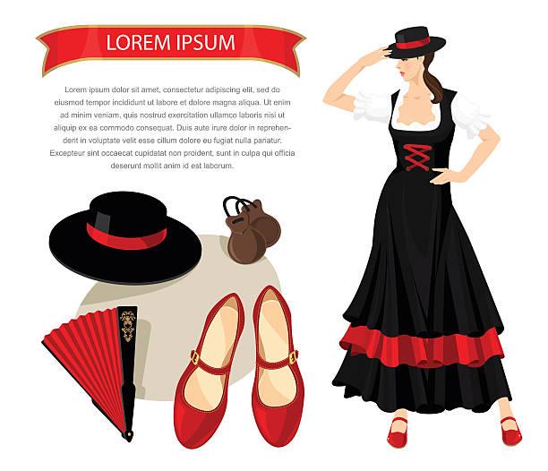 stockillustraties, clipart, cartoons en iconen met flamenco equipment and woman dancer - castagnetten