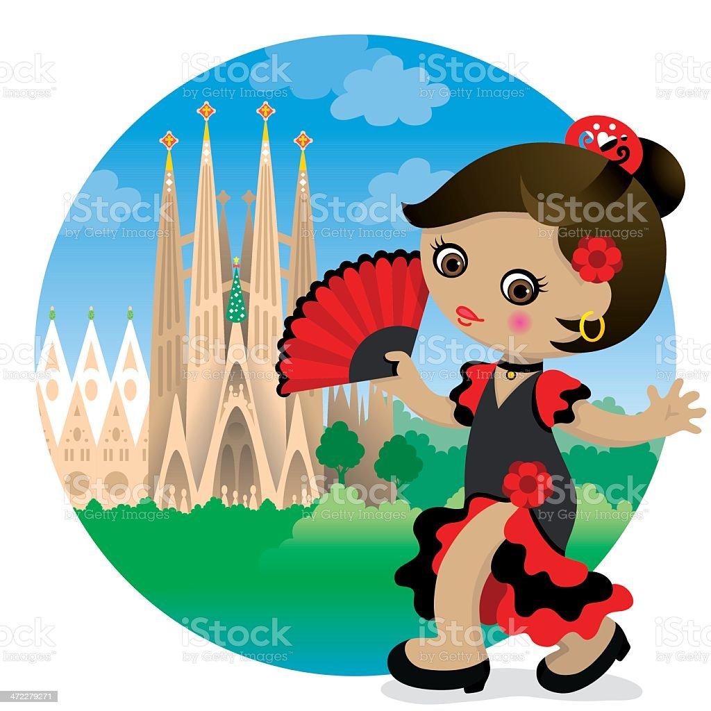 Flamenco girl at Sagrada Familia vector art illustration