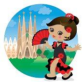 Flamenco girl at Sagrada Familia