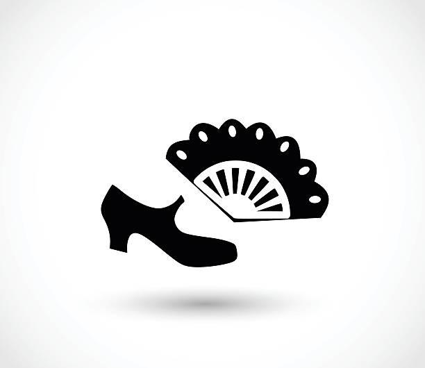 stockillustraties, clipart, cartoons en iconen met flamenco icon  - simple vector illustration isolated on white background - castagnetten