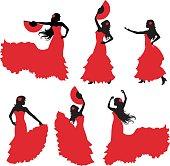 Flamenco dancer silhouettes set.