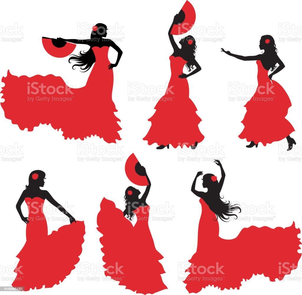 Siluetas de flamenco. - ilustración de arte vectorial
