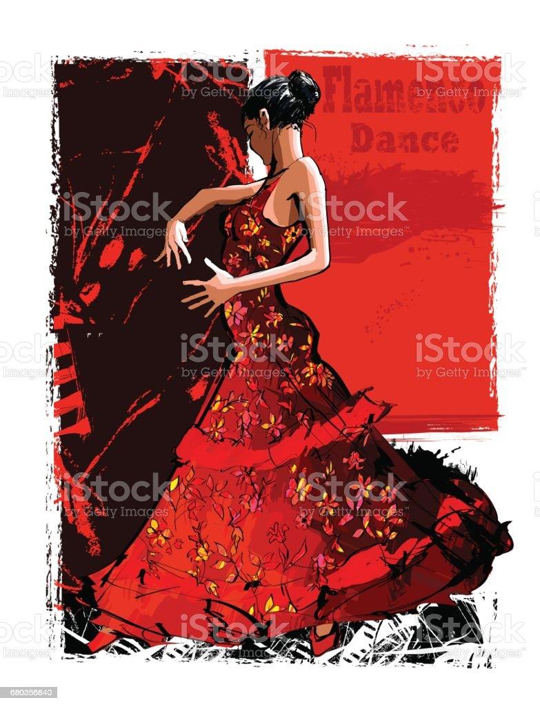 Flamenco spanish dancer woman - ilustración de arte vectorial