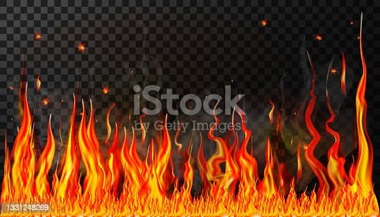 istock Flames and smoke with sparks of fire on a transparent background for use in dark illustrations. A horizontal wall of fire. Transparency is only in vector format. Illustration in a realistic style 1331248269