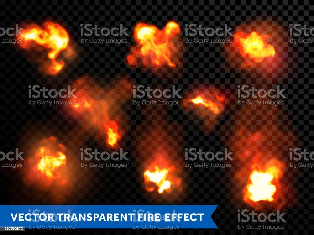 Flames fire burning explosion bursts transparent vector vector art illustration
