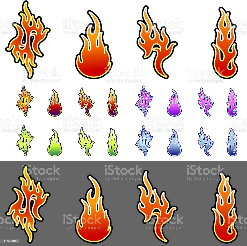 Flames tattoo in 4 colors royalty-free stock vector art