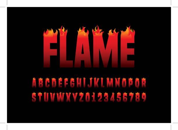 flammende alphabet - feuer stock-grafiken, -clipart, -cartoons und -symbole
