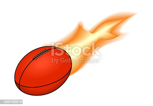 istock Flaming Australian Rules football 1305763919
