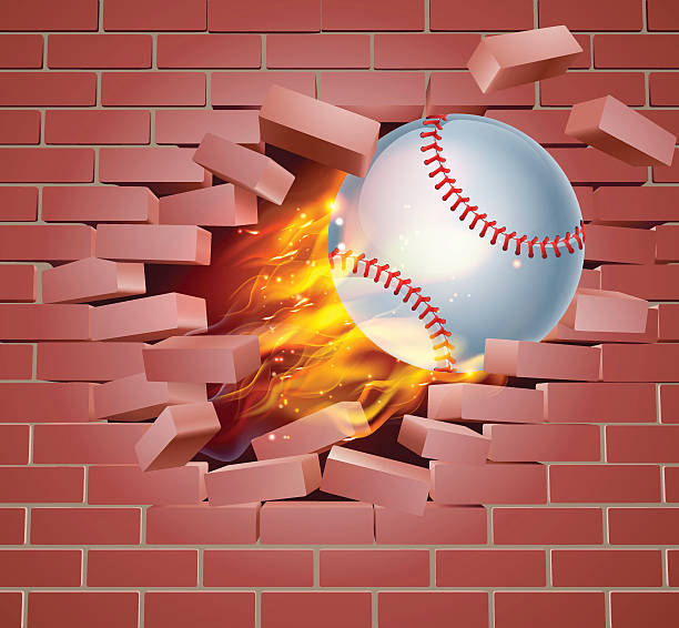 Flaming Baseball Ball Breaking Through Brick Wall vector art illustration
