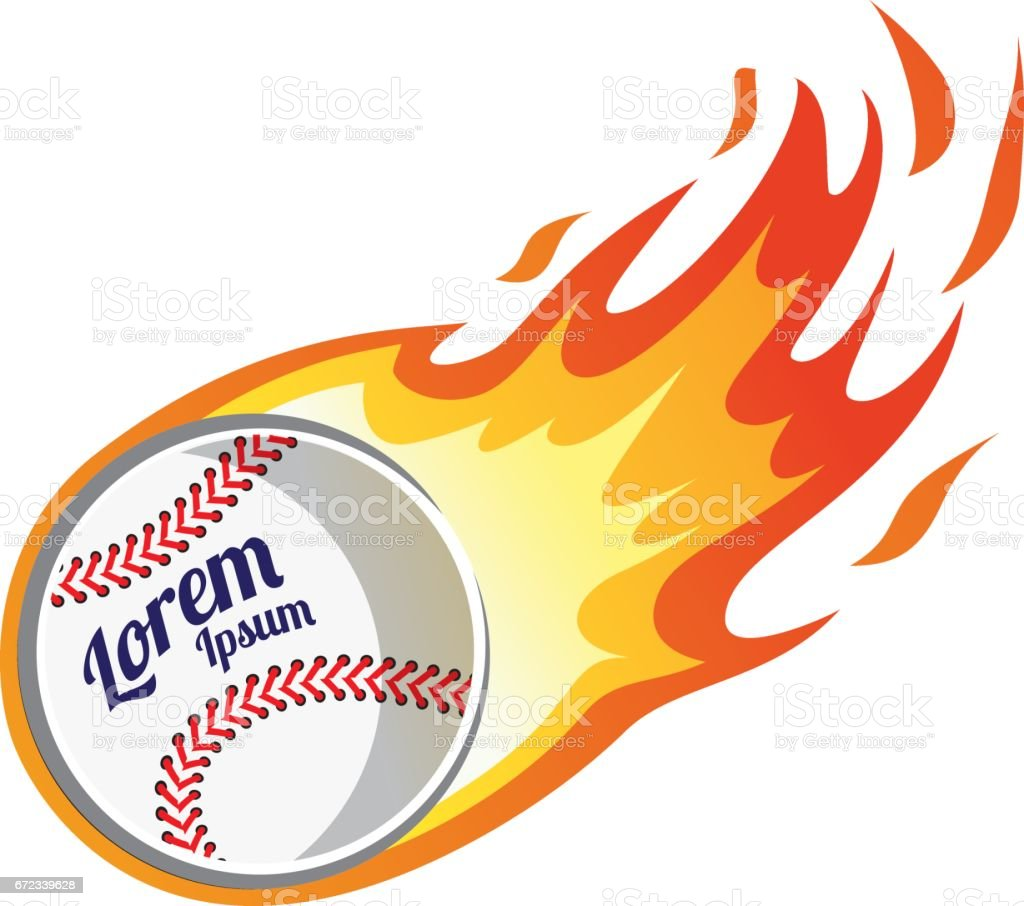 Flaming baseball vector art illustration