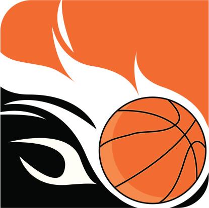 Flaming Basketball Ball Logo
