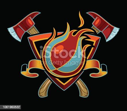 Flaming Basketball Design with Axes