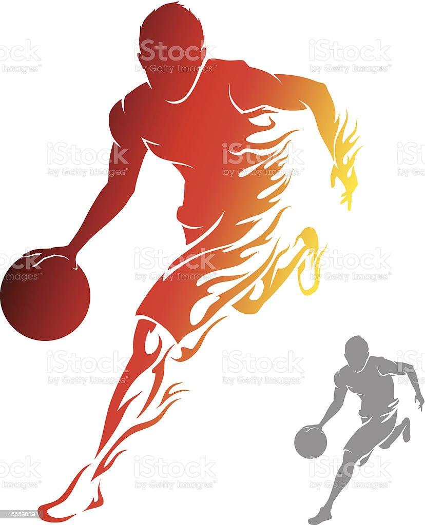 Flaming Basketball Player vector art illustration