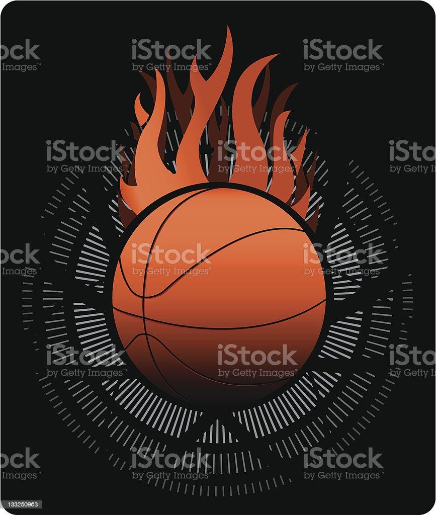 Flaming Basketball royalty-free stock vector art