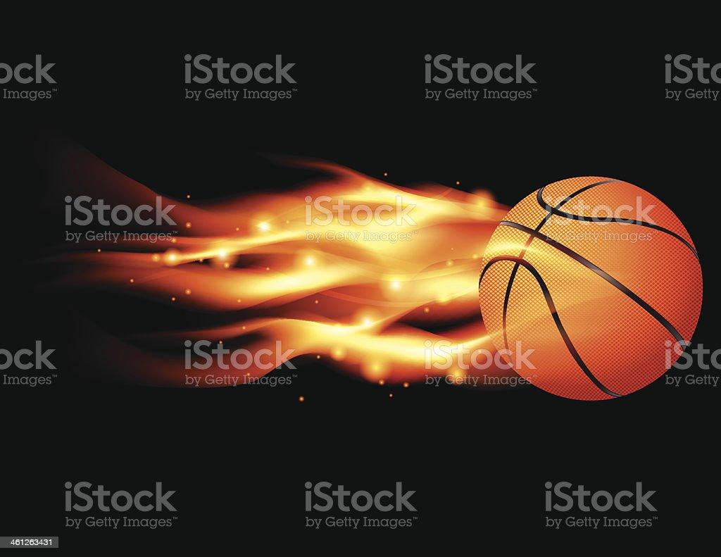 Flaming Basketball vector art illustration