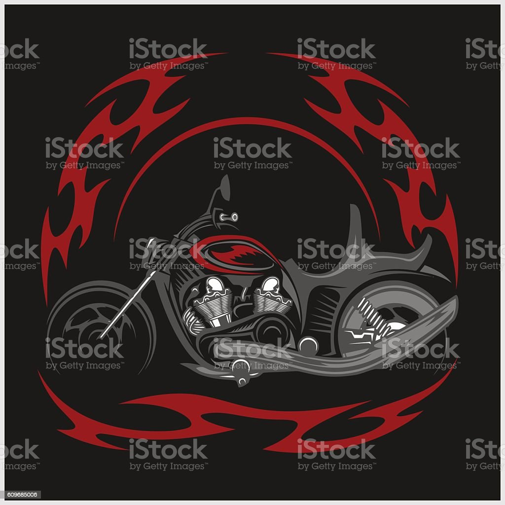 Flaming Bike   Retro Chopper And Tribal Flame Royalty Free Flaming Bike  Retro Chopper And