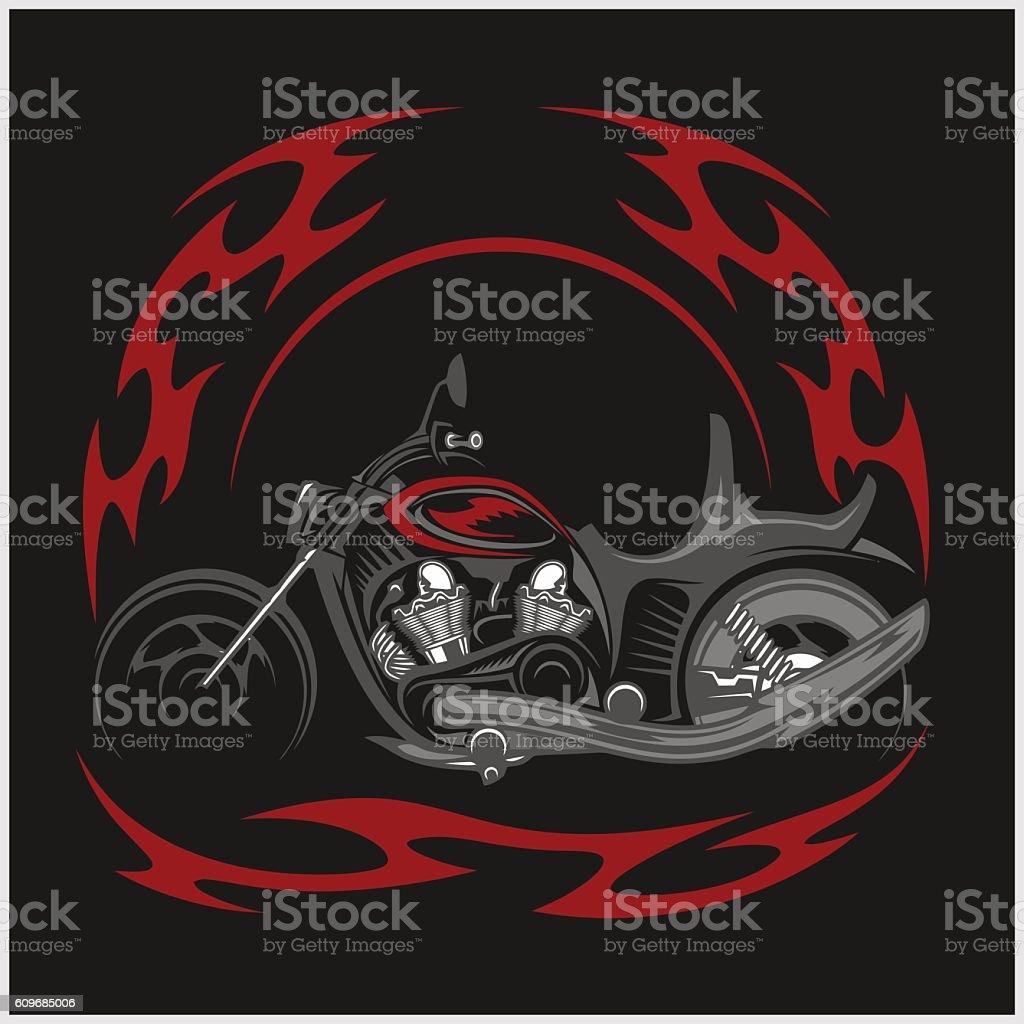 Flaming Bike Retro Chopper And Tribal Flame Stock